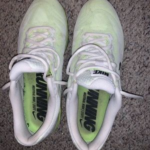 lime green and white gel nike's